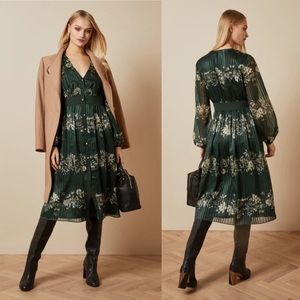NEW Ted Baker Delyla Dress Meadow Sweep Dark Green